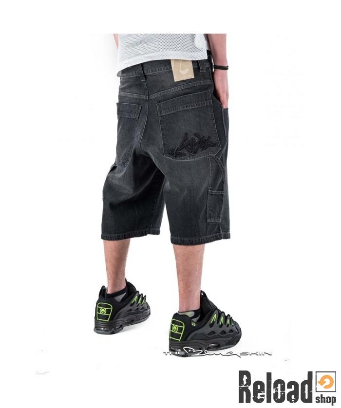 e5391fb95e Pantalone Corto Jeans Blueskin ricamo Tag baggy nero black 001